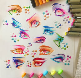 Colourful Copic Eye Practice by Clareesi