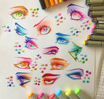 Colourful Copic Eye Practice