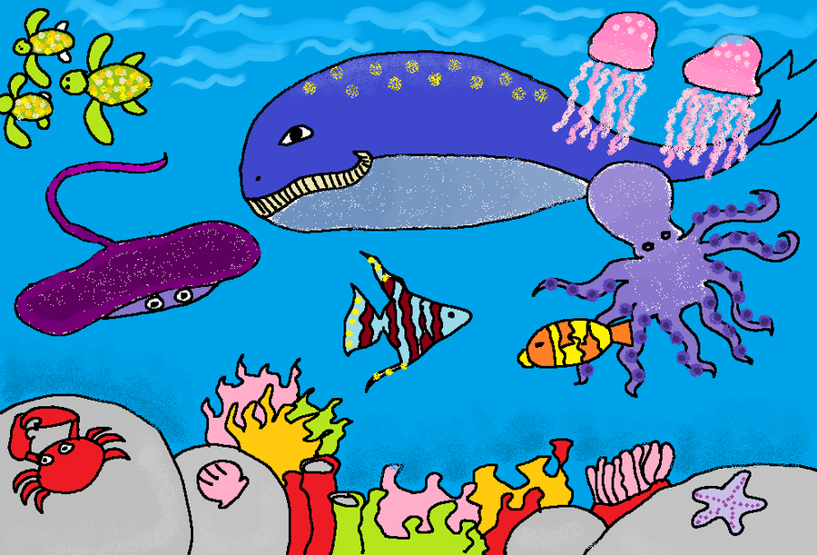 How to draw an underwater scene for kids - YouTube  Underwater World Drawings