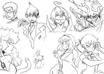 Blue Exorcist character sketches by JadeGL