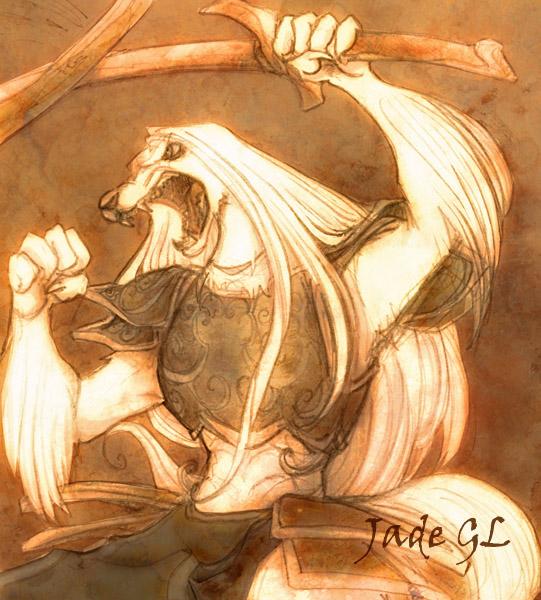 Dog Knight fighting by JadeGL