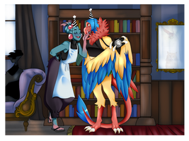 Roost and Medax clean the lounges...kinda