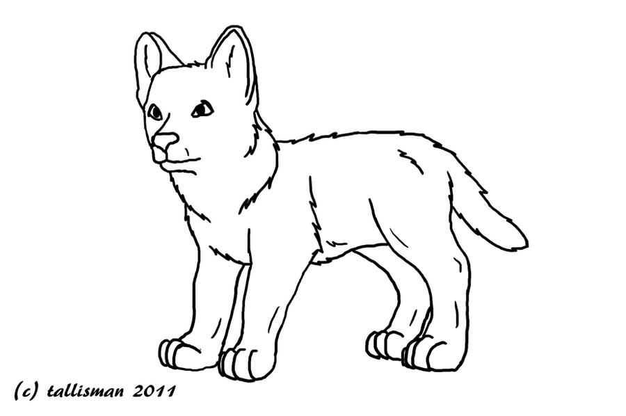 coloring pages baby wolves   FREE Wolf Pup line art by TallyBaby13 on DeviantArt
