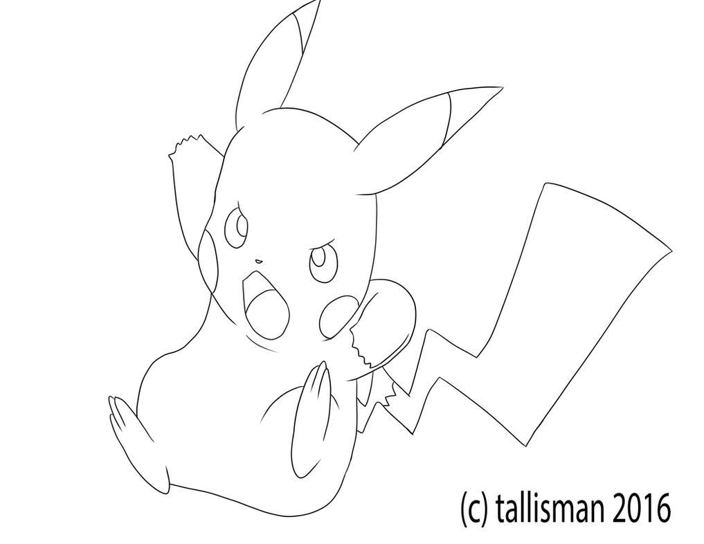 Pikachu Line Art by TallyBaby13