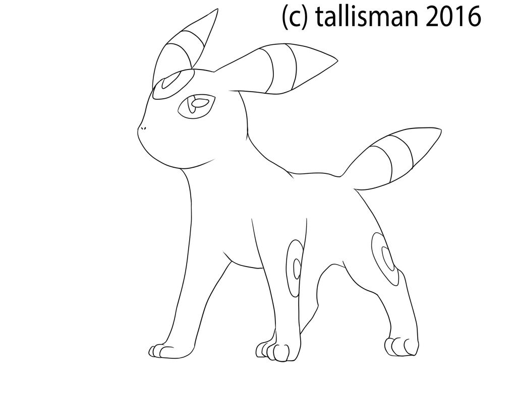 Umbreon Line Art by TallyBaby13
