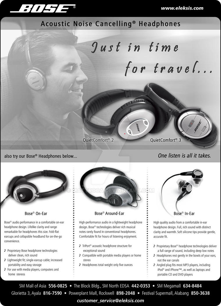 bose noise cancelling headphones ad. bose newspaper advertisement by mattroca noise cancelling headphones ad