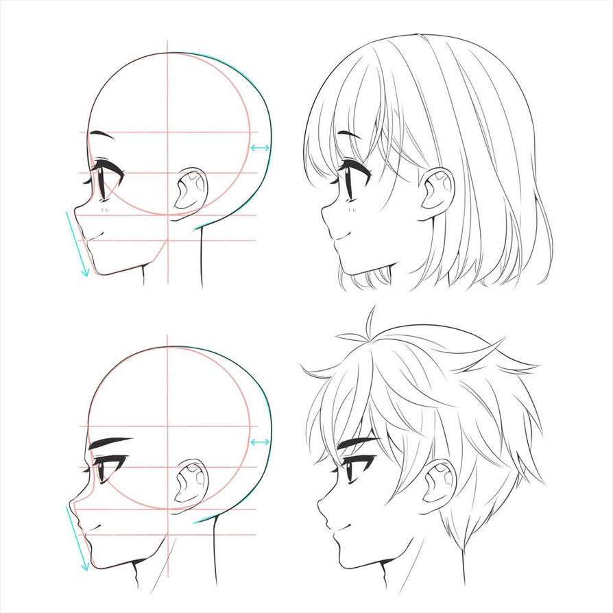 how to draw anime heads male