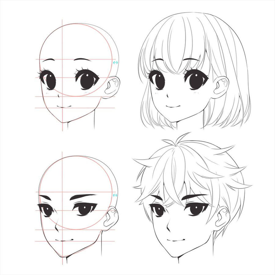 anime boy girl head drawing by mokocchihana