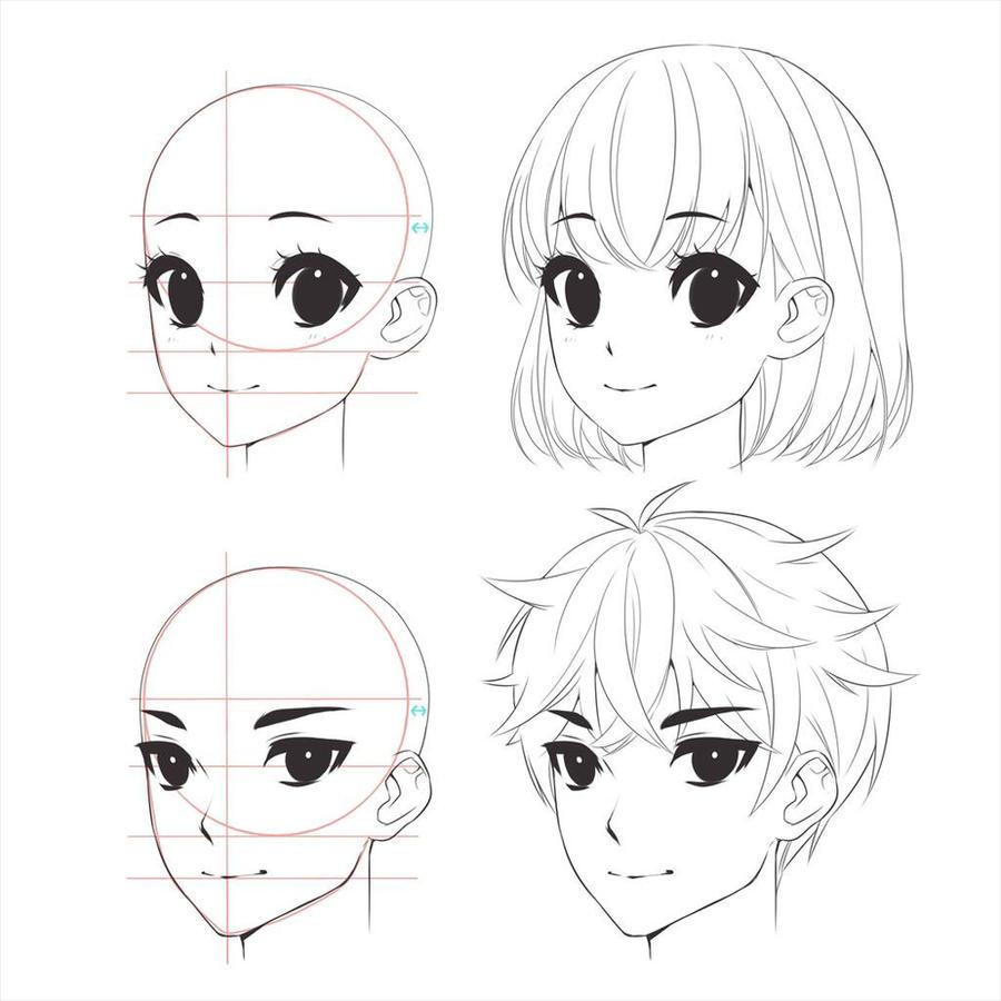 Anime boy, girl head drawing by MokocchiHana on DeviantArt