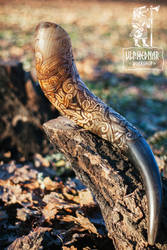 Carved detail of the Drinking Horn