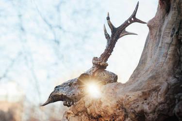 Carved roe deer skull