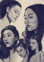 Sketches of Women in ballpoint pen by Teffles