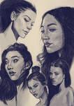 Sketches of Women in ballpoint pen