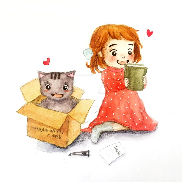 When both my cat and I are happy! by funkyatelier