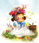 A little girl and spring flowers