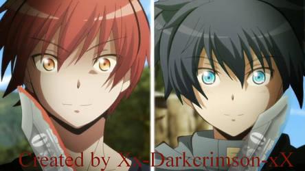 Nagisa vs Karma (Recoloured) by Xx-DarkCrimson-xX