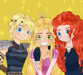 Astrid, Rapunzel and Merida
