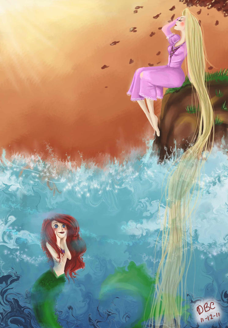 Ariel and Rapunzel - Through the Worlds by DemonicBlackCat