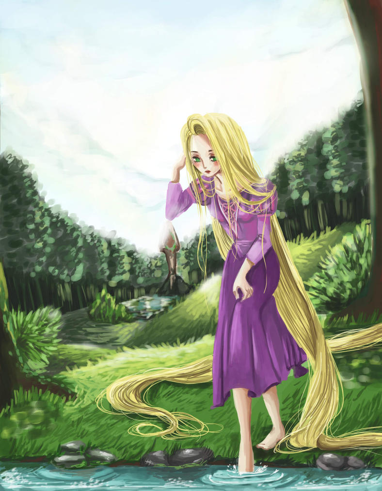 Rapunzel in the Woods by DemonicBlackCat