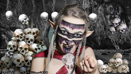 Dark Elvish Sorceress - Body paint by Vitani4000