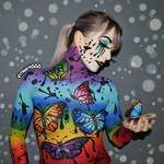 Rainbow Butterflies - Body Paint