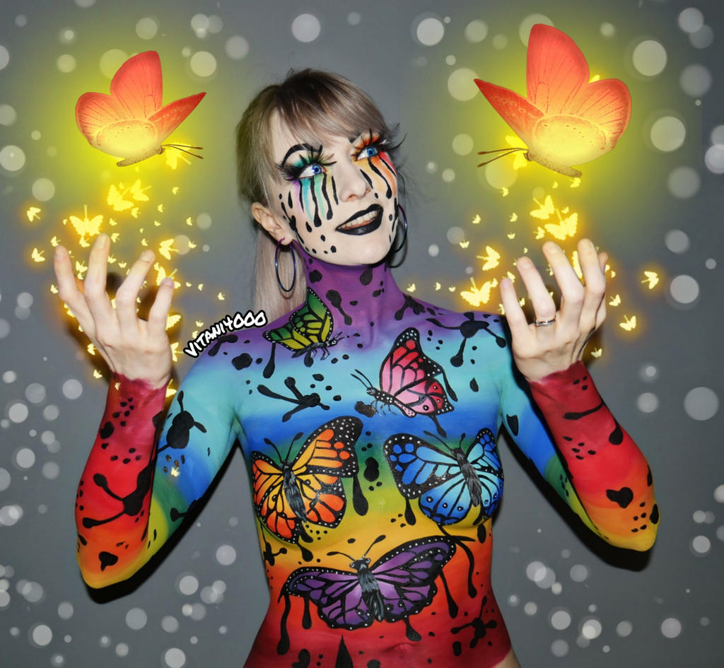 Rainbow Butterflies 2 - Body Paint