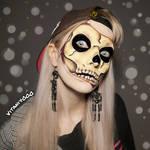 Skin torn open - Skull face paint by Vitani4000