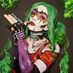 Poof...Harley Quinn/Joker Mashup - Body paint by Vitani4000