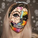 Rainbow Puzzle Skull - Face paint by Vitani4000
