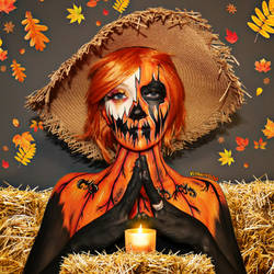All hail the pumpkin queen - Body paint