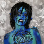 Maji, the blue water elf - Bodypaint