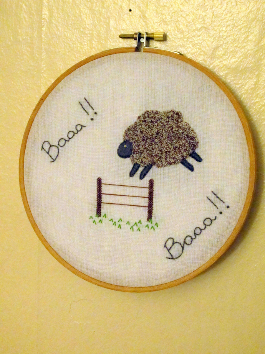 Baa french knot sheep by vickitoriaembroidery on