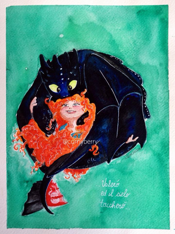 Merida and Toothless by crystalwaterfall