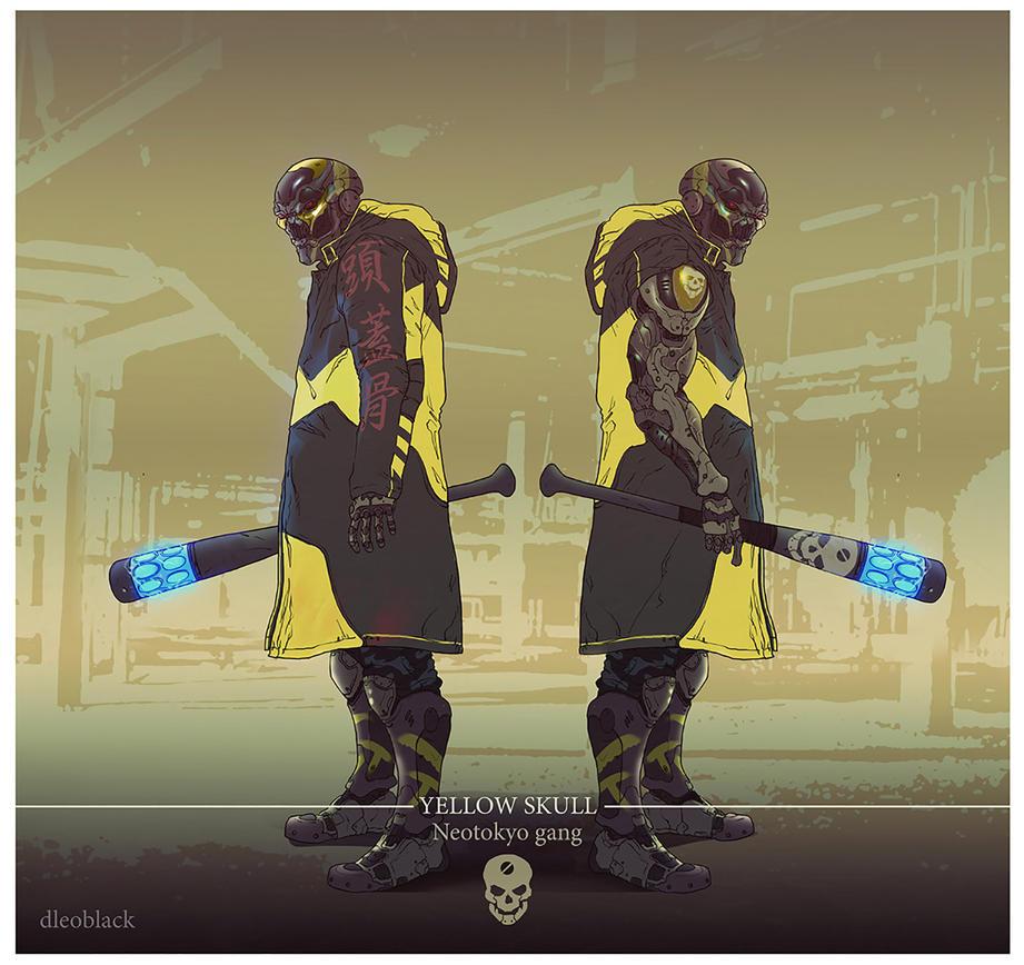 yellow skull gang member by dleoblack