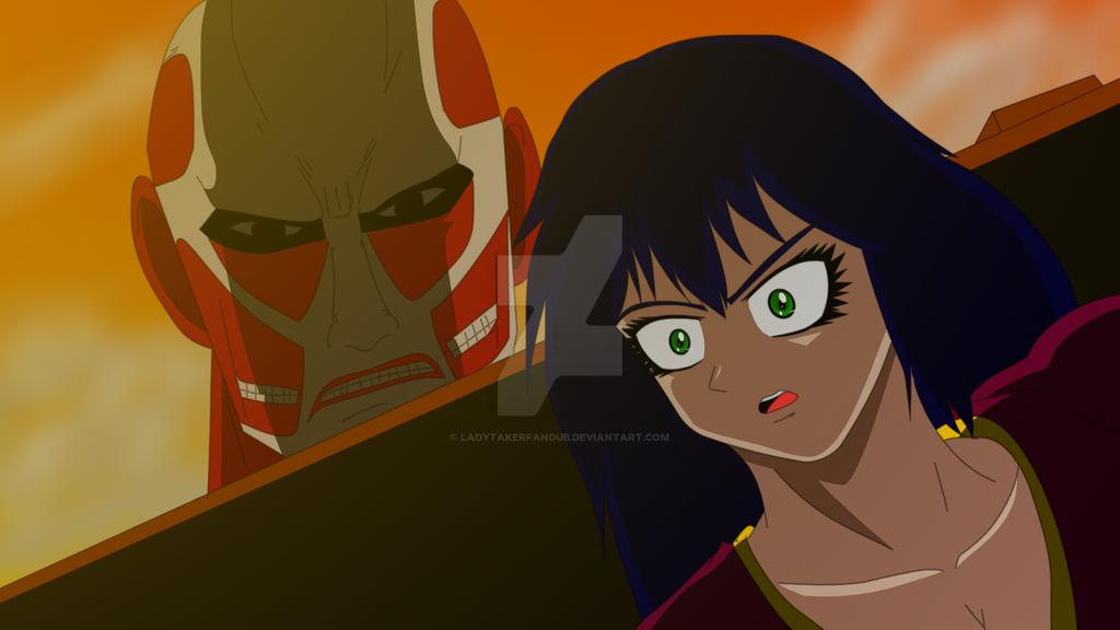 hari vs colosal titan by LadyTakerFandub