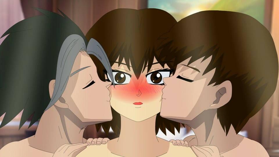 tanakaXlady takerXtomy kiss triangule love by LadyTakerFandub
