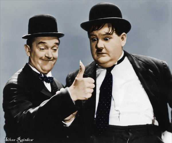 Laurel and Hardy colorized by dontforgetfrank on DeviantArt