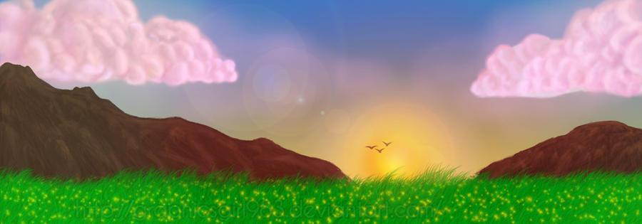 Panorama Painting Sunrise By OnWingsOfBlue