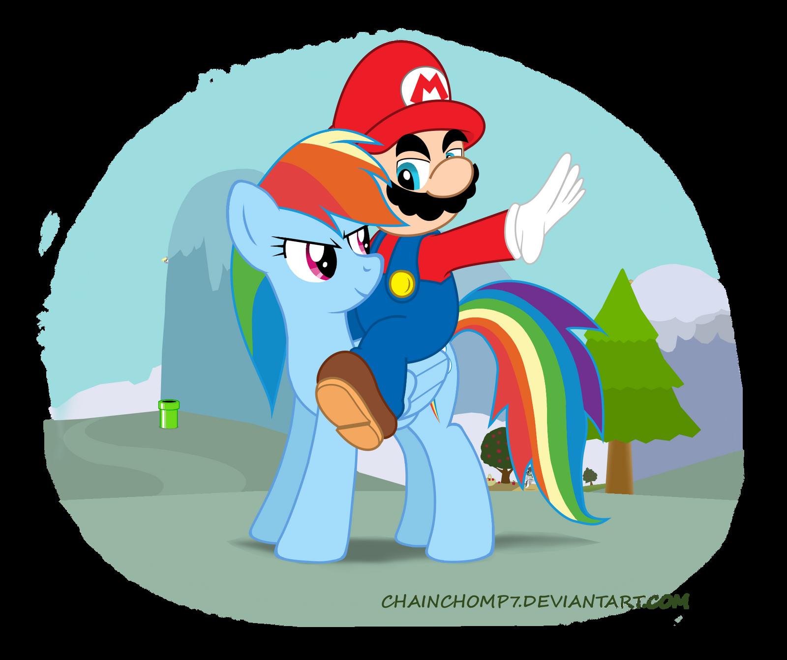 Mario and Rainbow Dash by chainchomp7