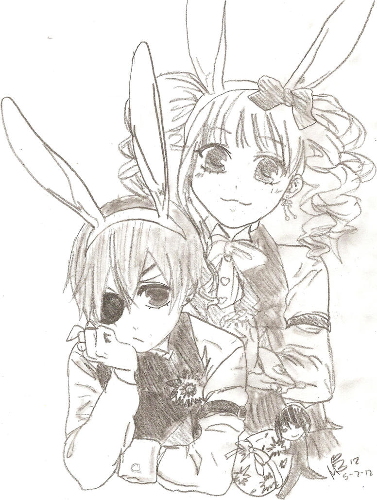 easter with black butlerkuroshitsuji by cielcplay - Black Butler Chibi Coloring Pages