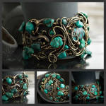 wire bracelet with turquoise