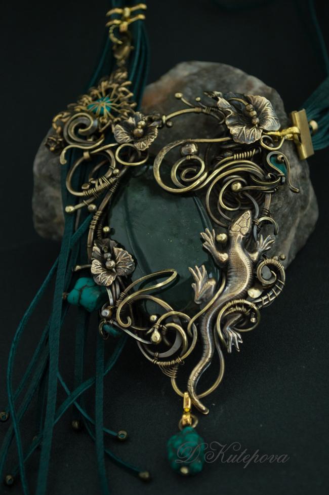 wirewrap jade lizard by DARiyaKUTEPOVA