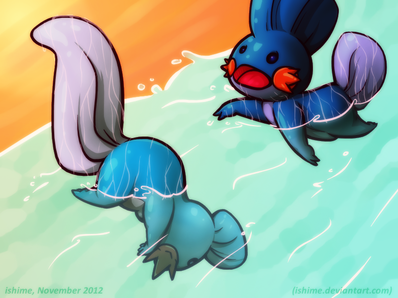 Pokemon - Bathtime for mudkips by ishime