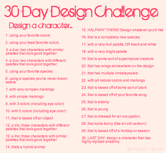 Character Design Challenge List : Meme favourites by stayria on deviantart