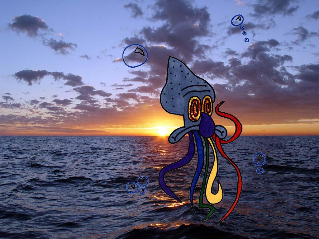 Trippy Squidward on Sunset by BobbertM on DeviantArt