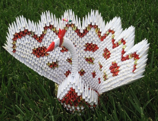 3D origami peacock | I used 448 modules .It looks difficult … | Flickr | 420x548