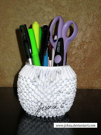 3d Origami Pencil Holder By Jchau On Deviantart