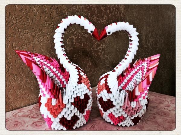 3D Origami Valentine Swans By Jchau