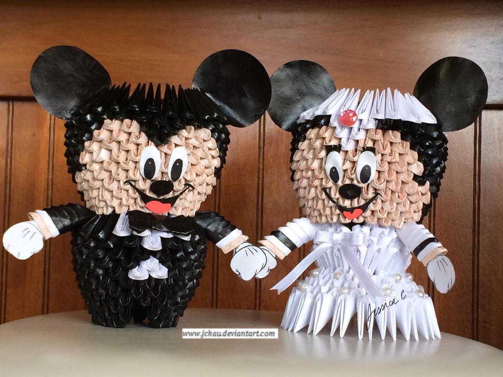 3d origami mickey mouse bride and groom by jchau on deviantart