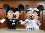3D Origami Mickey Mouse Bride and Groom